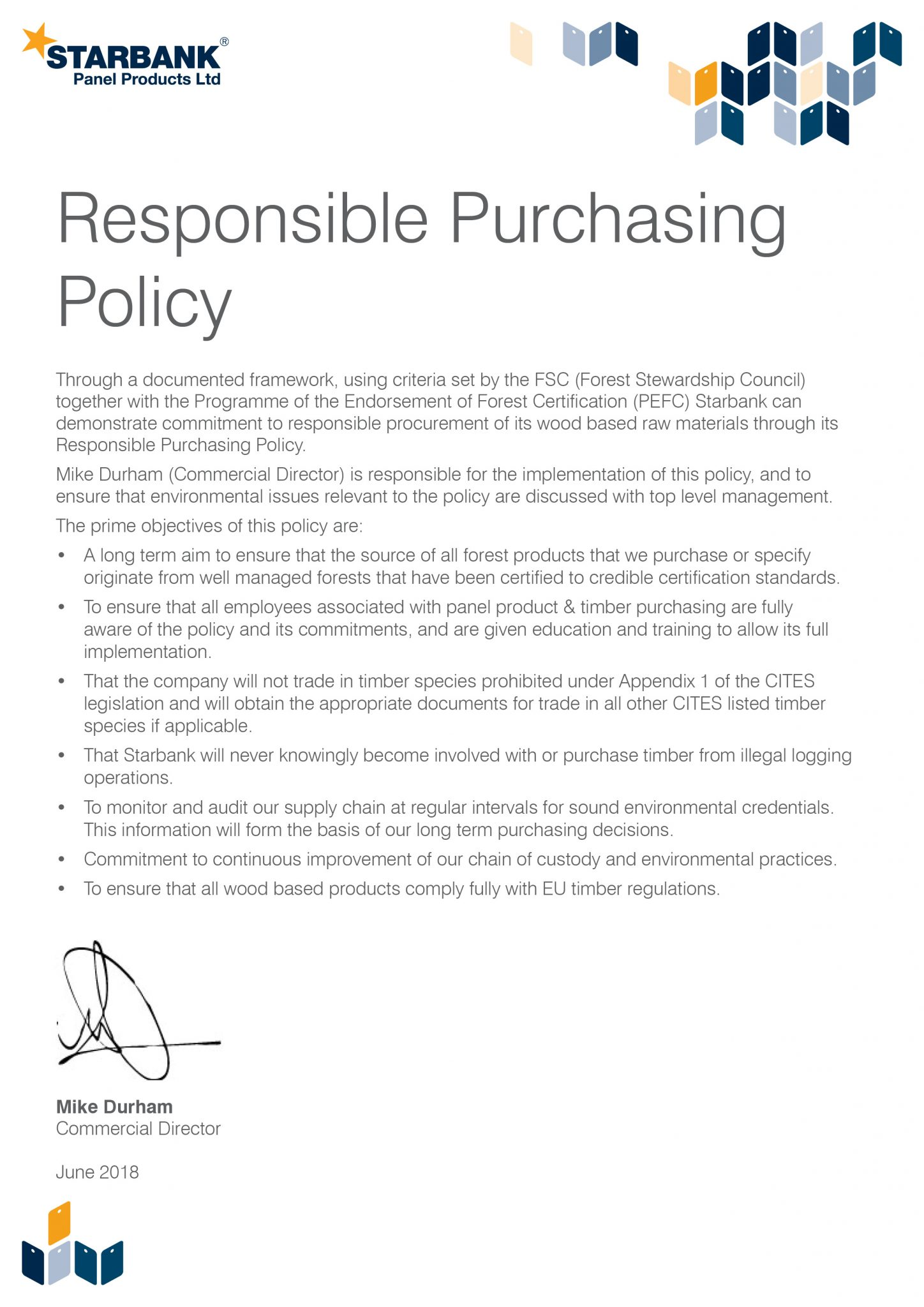 Starbank Purchasing Policy